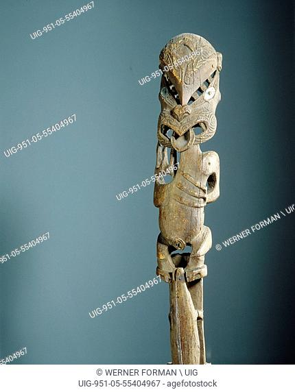An ancestor of the Tuwharetoa people depicted on the gable finial, tekoteko, of a chiefs storehouse