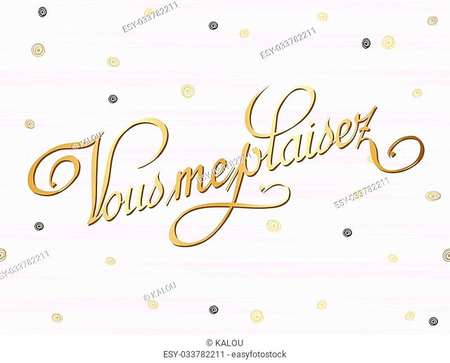 Pretty Love French card template. Gold curl decor on striped watercolor background. Vector illustration