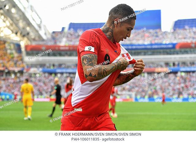 goaljubel Paolo GUERRERO (PER) after goal 0-2, Action, jubilation, Joy, Enthusiasm, Australia (AUS) - Peru (PER) 0-2, Preliminary Round, Group C, Game 38, on 26