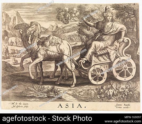 Asia from The Four Continents. Engraver: Julius Goltzius (Netherlandish, died ca. 1595); Artist: After Maerten de Vos (Netherlandish