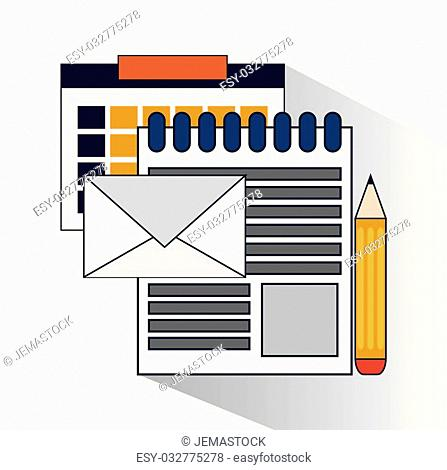 Calendar document envelope and pencil icon. Social media and digital marketing theme. Colorful design. Vector illustration