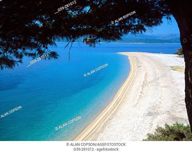 Beach near Bol. Zlatni Rat (Golden Cape). Brac Island. Croatia