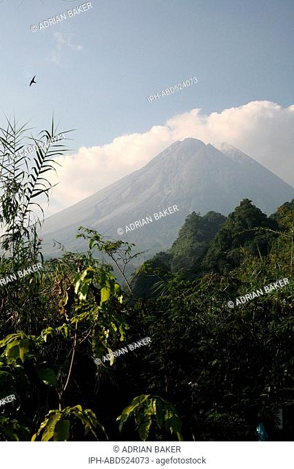 Indonesia Central Java Jogjakarta Mount Merapi National Park Mount Merapi, one of the most active, and dangerous volcanoes in the world, seen from Kaliurang