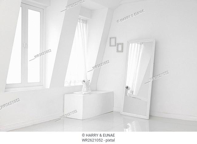 Interior with white windows, curtain and mirror