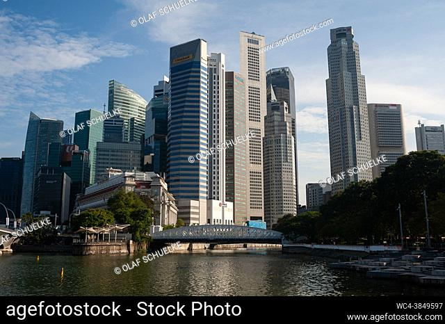 Singapore, Republic of Singapore, Asia - Cityscape with skyline of the central business district and the skyscrapers around Marina Bay and Raffles Place during...