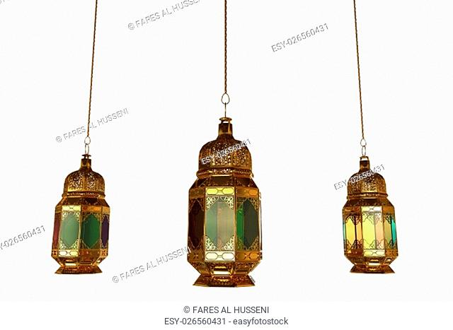 3d rendering of lanterns isolated on a white background painted in gold