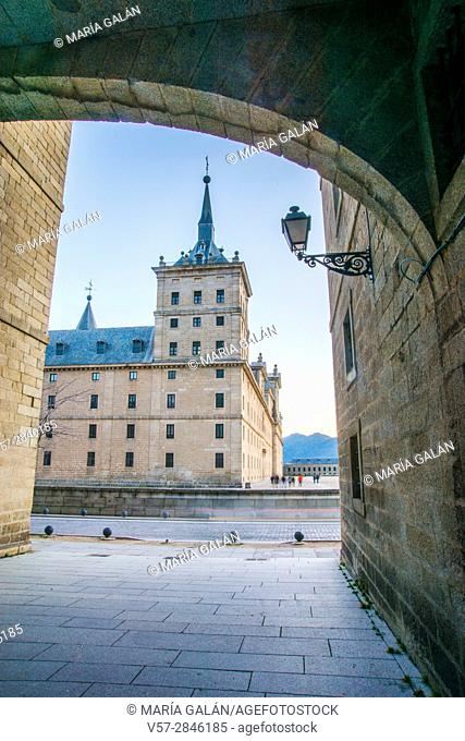 Arch and view of the Royal Monastery. San Lorenzo del Escorial, Madrid province, Spain