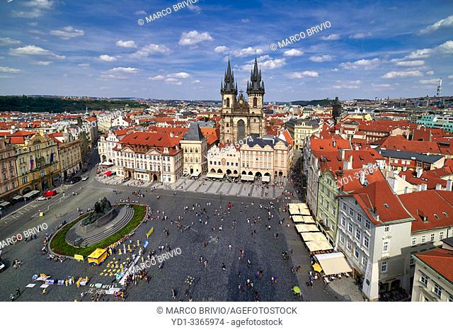 Prague Czech Republic. Aerial view of old town. The Gothic Church of Our Lady before Tyn in Old Town Square