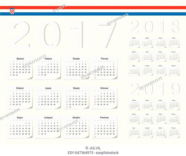 Set of Croatian 2017, 2018, 2019 vector calendars with shadow angles. Week starts from Sunday