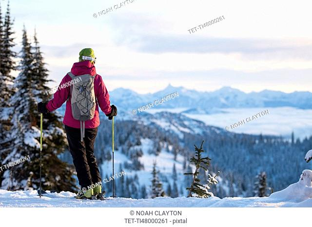 Female skier against mountains