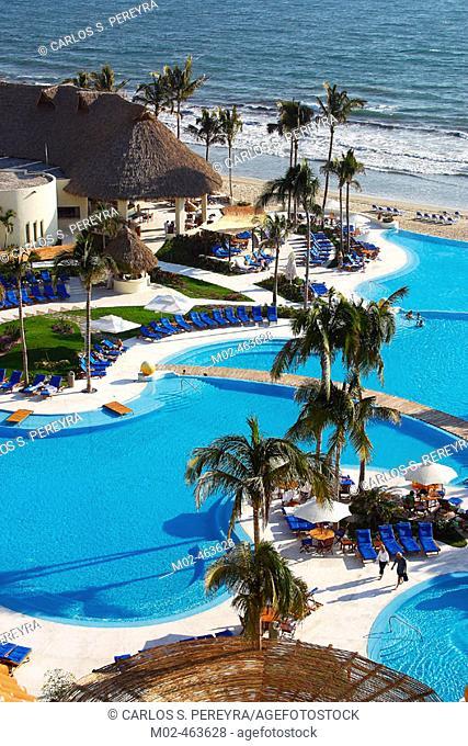 Swimming pool , Hotel Grand Velas, Nuevo Vallarta in Bahia Banderas, near Puerto Vallarta. Jalisco, Mexico