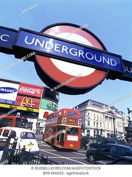 Street Scene, Underground Sign, Piccadilly Circus, London, England, U.K