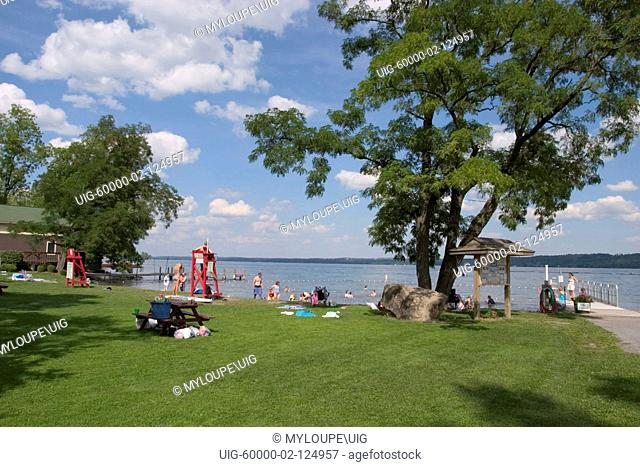 Swimming beach on Canandaigua Lake in the Finger Lakes region of New Yrok State
