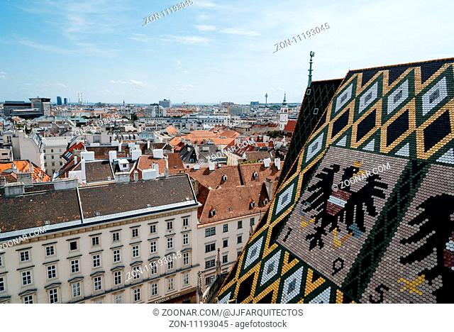 Vienna, Austria - August 16, 2017: Panoramic view of Vienna from the roof of Cathedral of St Stephen. Built in romanesque and gothic style