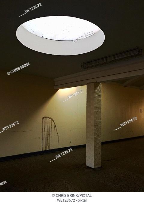 Detail of depressing corridor to a shopping arcade, UK