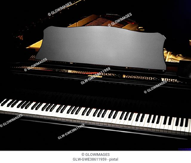 High angle view of a piano