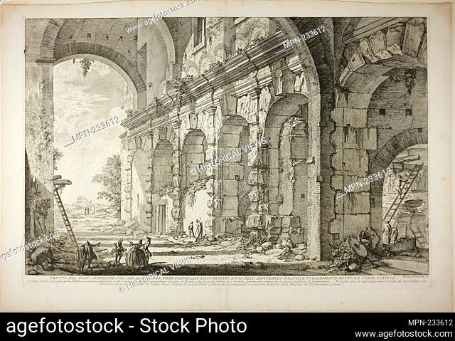 View of the upper storey of the Cages for Wild Animals built by the Emperor Domitian, associated with the Flavian Amphitheater and commonly called the Curia...