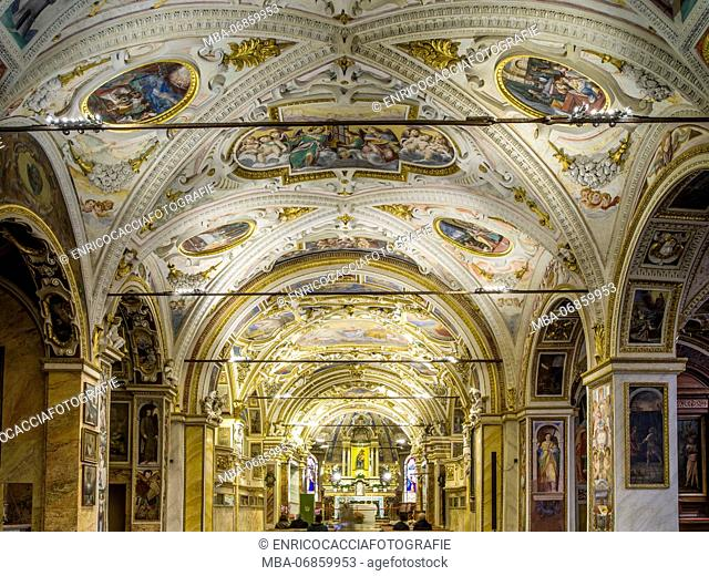 Nave of the pilgrimage chapel Madonna del Sasso in Locarno