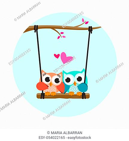 Valentine owls in love in a swing. Vector illustration