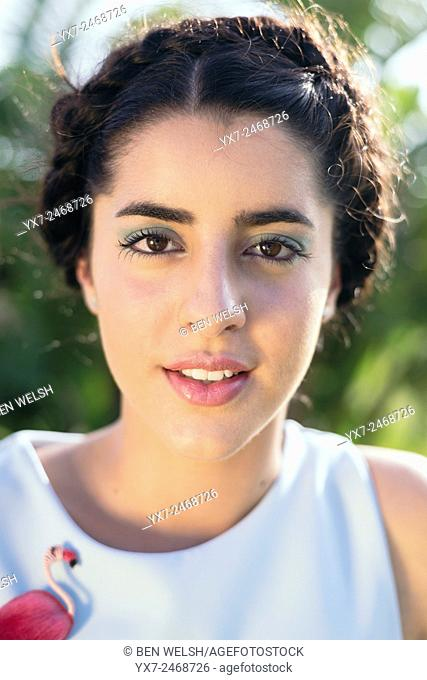 Portrait of a beautiful brunette teenager