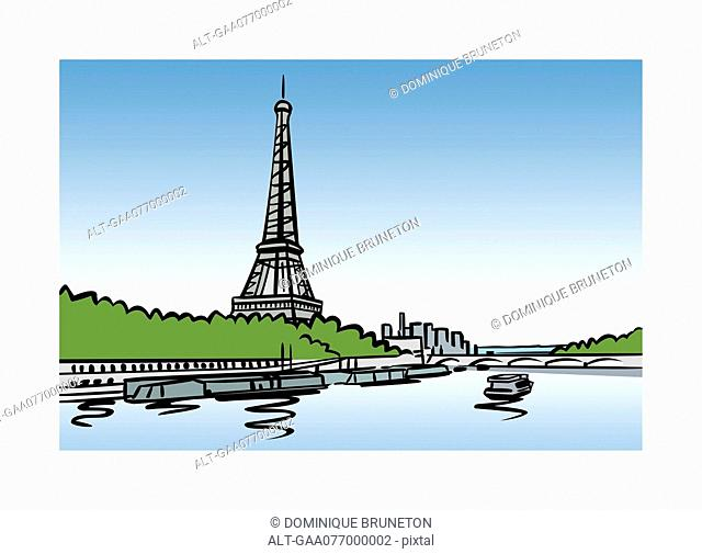 Illustration of the Seine and Eiffel Tower in Paris, France