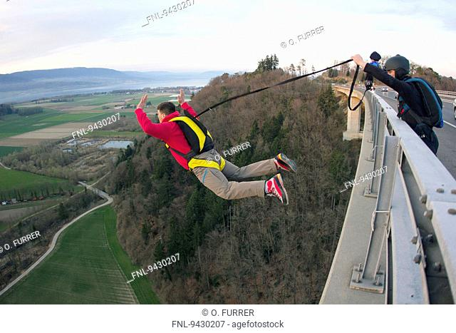 Two skydiver, Yverdon-les-Bains, Canton Waadt, Switzerland, Europa