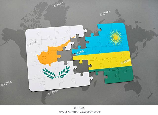 puzzle with the national flag of cyprus and rwanda on a world map background. 3D illustration