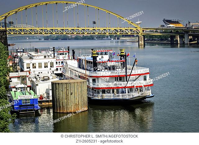 The Gateway Clipper paddle steamer Landing in Pittsburgh Pennsylvania PA