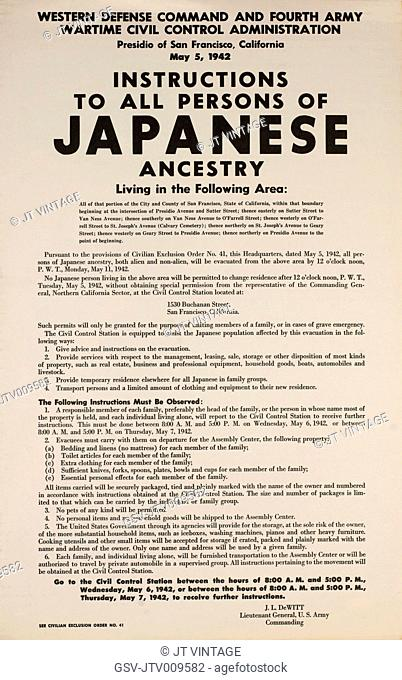 Civilian Exclusion order #41, Part II, Directing Removal by May 11 of Persons of Japanese Ancestry, 1530 Buchanan Street, San Francisco, California, USA