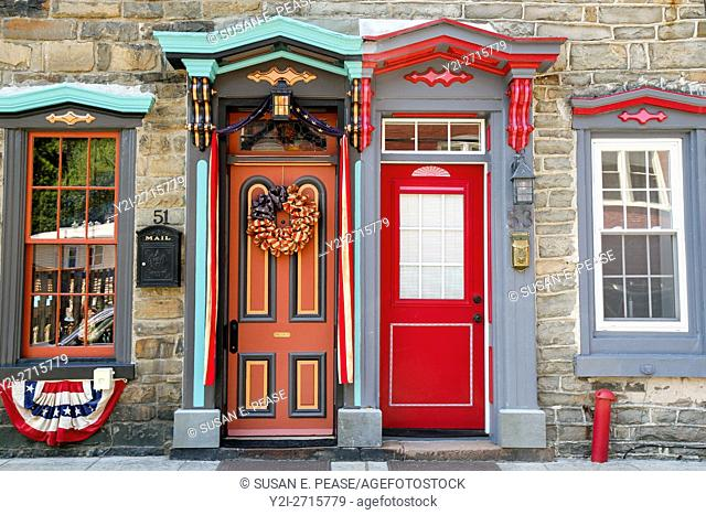 Colorful doors and windows, Stone Row, Jim Thorpe, Pennsylvania, United States, North America. Editorial use only