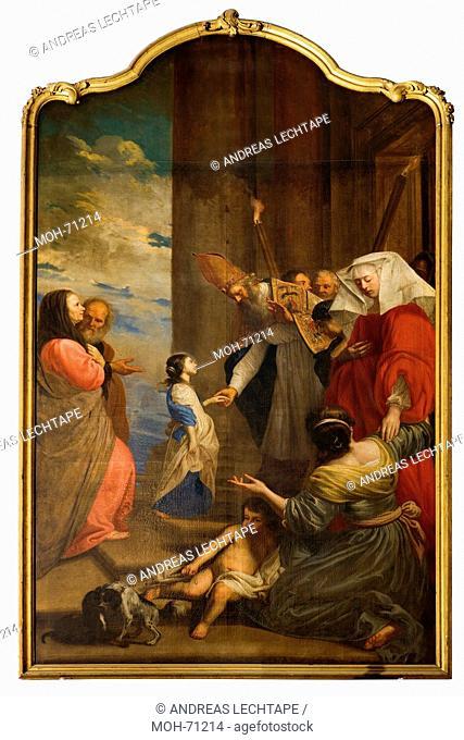Die St. Jakobuskirche Brügge. Gemälde. Der Tempelgang oder die Darstellung Mariens im Tempel, von Jakob van Oost dem Älteren. 1665