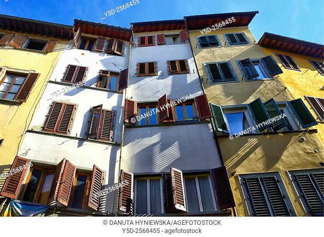 Europe, Italy, Tuscany, Florence, architecture - facades of townhouses, old town