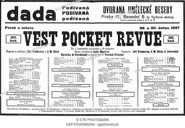 Facsimile of the poster due to the premiere of the legendary theatre play Vest Pocket Revue in Prague, Czechoslovakia, April, 1927. (CTK Photo)
