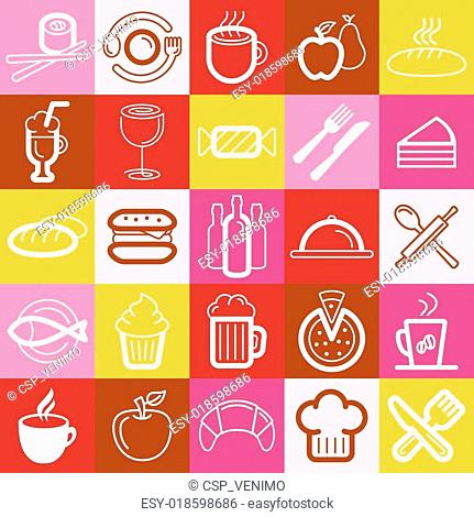 Vector set of food and cafe logos and signs