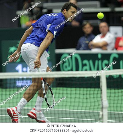 French Jo-Wilfried Tsonga plays against Czech Lukas Rosol during the first single game in the Davis Cup tennis tournament quarterfinal between the Czech...