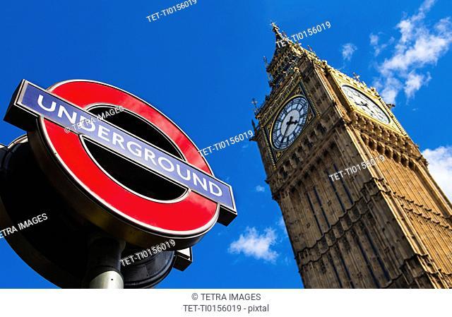UK, England, London, Big Ben and underground sign