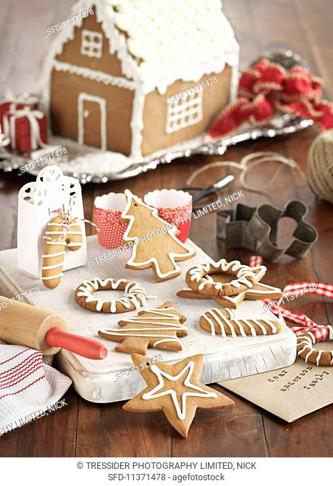 Gingerbread biscuits and a gingerbread house