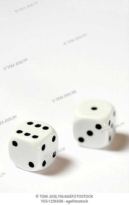 Two dice stacked close up