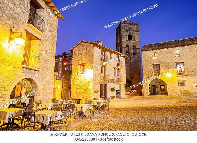 Ainsa village at nigth, Huesca, Spain