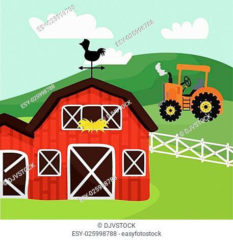 Rural lifestyle concept, farm icons, vector illustration