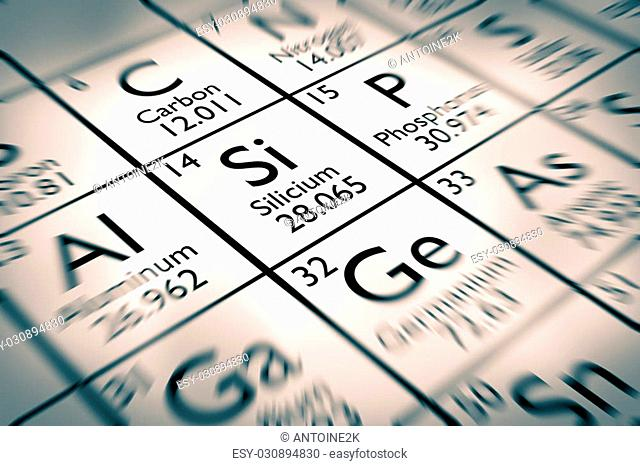 Focus on Silicon chemical element inserted in the mendeleev table