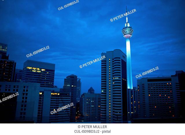 Kuala Lumpur tower illuminated at night, Kuala Lumpur, Malaysia