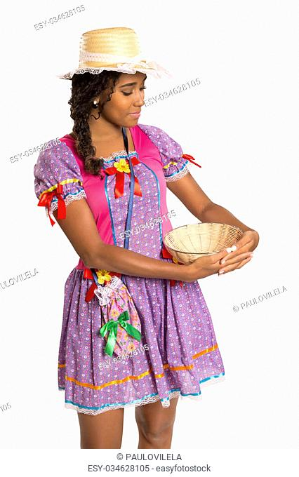 Girl wearing generic caipira clothes as in every Festa Junina or Country Festivals in Brazil