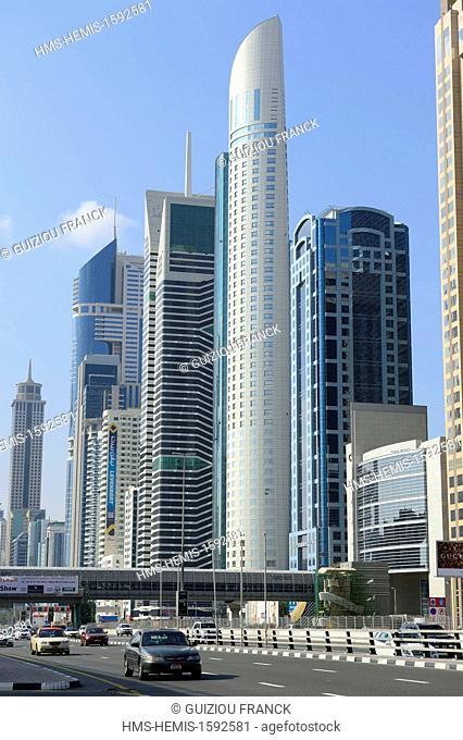 United Arab Emirates, Dubai, the towers of Sheikh Zayed Road