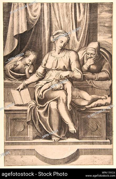 Virgin and Child with Saints Joseph and John the Baptist (after Michelangelo's Madonna del Silenzio). Artist: Giulio Bonasone (Italian, active Rome and Bologna