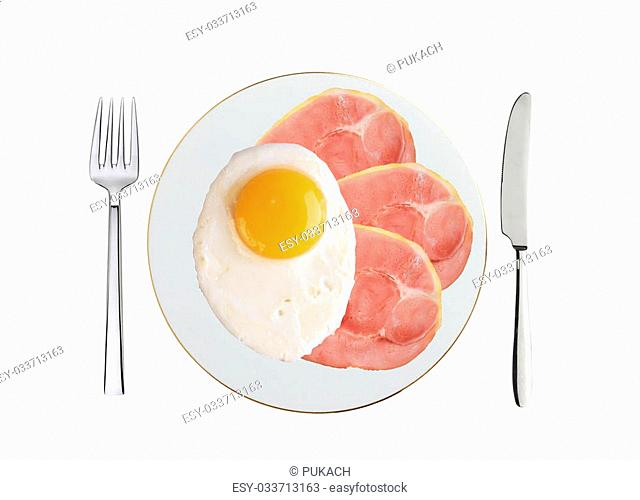 Traditional breakfast with bacon and fried eggs on plate isolated on white