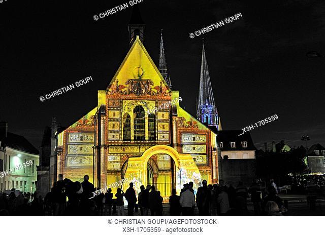 illuminations of the ancient chapel Sainte-Foy, Chartres, Eure-et-Loir department, Centre region, France, Europe