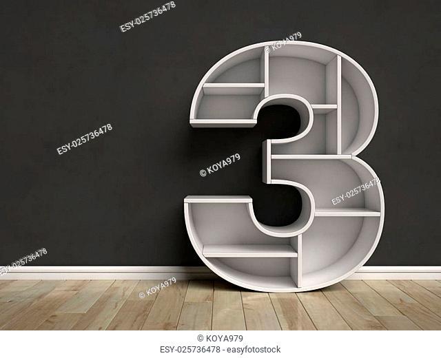 Number 3 shaped shelves 3d rendering