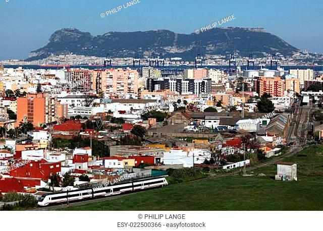 View of Algeciras with a rock of Gibraltar