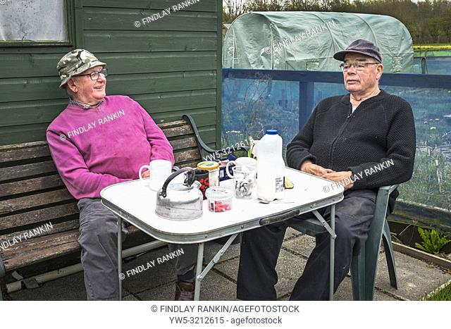 Tom Nimmo age 84 (left) and his friend Henry Wallace age 78, (right) both from Pennyburn, Kilwinning, Eglinton Growers Allotments, Kilwinning, Ayrshire
